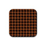 HOUNDSTOOTH1 BLACK MARBLE & RUSTED METAL Rubber Coaster (Square)