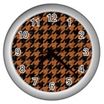 HOUNDSTOOTH1 BLACK MARBLE & RUSTED METAL Wall Clocks (Silver)