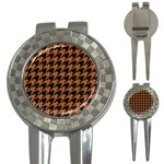 HOUNDSTOOTH1 BLACK MARBLE & RUSTED METAL 3-in-1 Golf Divots