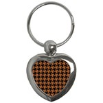HOUNDSTOOTH1 BLACK MARBLE & RUSTED METAL Key Chains (Heart)