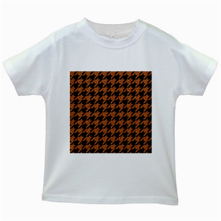 HOUNDSTOOTH1 BLACK MARBLE & RUSTED METAL Kids White T-Shirts