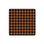 HOUNDSTOOTH1 BLACK MARBLE & RUSTED METAL Square Magnet