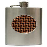 HOUNDSTOOTH1 BLACK MARBLE & RUSTED METAL Hip Flask (6 oz) Front