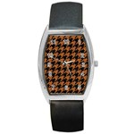 HOUNDSTOOTH1 BLACK MARBLE & RUSTED METAL Barrel Style Metal Watch Front