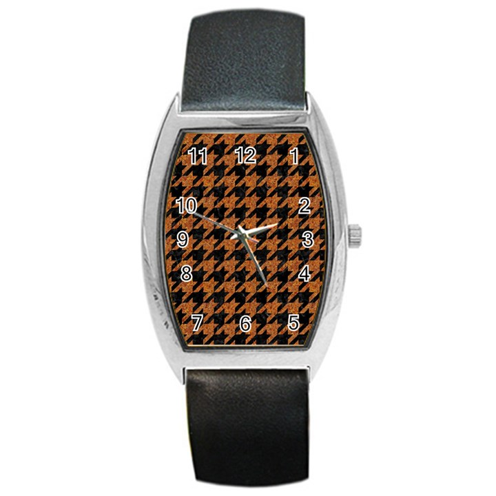 HOUNDSTOOTH1 BLACK MARBLE & RUSTED METAL Barrel Style Metal Watch