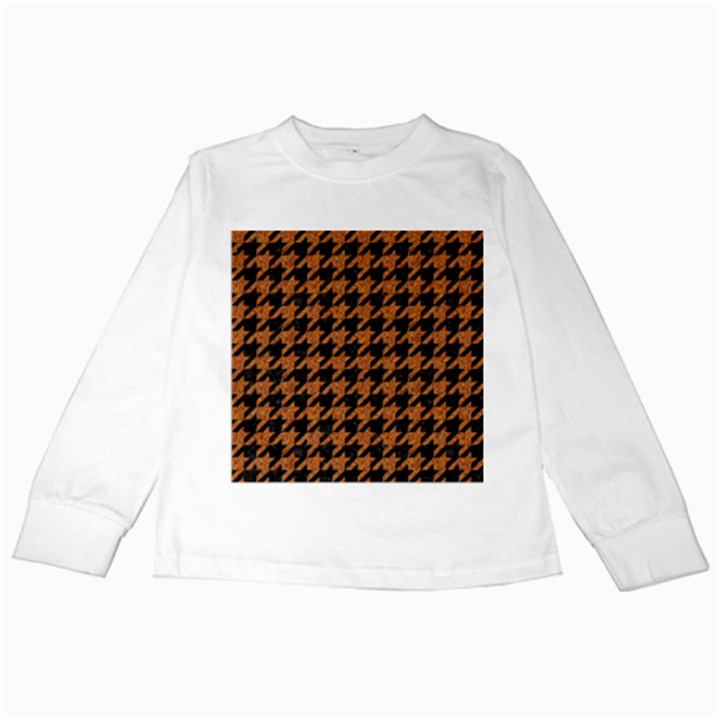 HOUNDSTOOTH1 BLACK MARBLE & RUSTED METAL Kids Long Sleeve T-Shirts