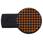 HOUNDSTOOTH1 BLACK MARBLE & RUSTED METAL USB Flash Drive Round (4 GB) Front