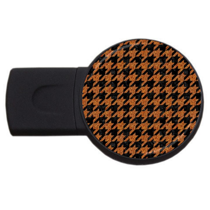 HOUNDSTOOTH1 BLACK MARBLE & RUSTED METAL USB Flash Drive Round (4 GB)