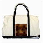 HOUNDSTOOTH1 BLACK MARBLE & RUSTED METAL Two Tone Tote Bag Front