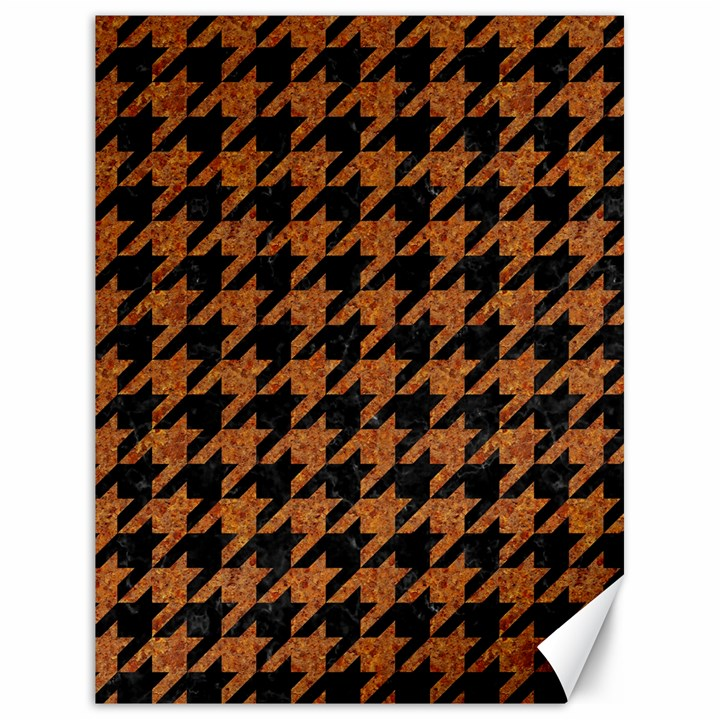 HOUNDSTOOTH1 BLACK MARBLE & RUSTED METAL Canvas 18  x 24