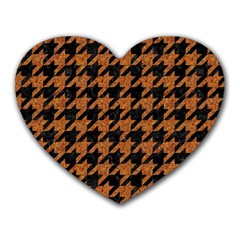 Houndstooth1 Black Marble & Rusted Metal Heart Mousepads