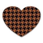 HOUNDSTOOTH1 BLACK MARBLE & RUSTED METAL Heart Mousepads Front