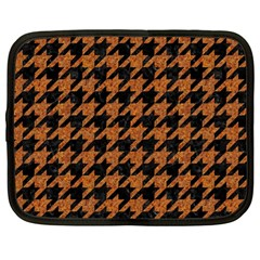 Houndstooth1 Black Marble & Rusted Metal Netbook Case (large) by trendistuff