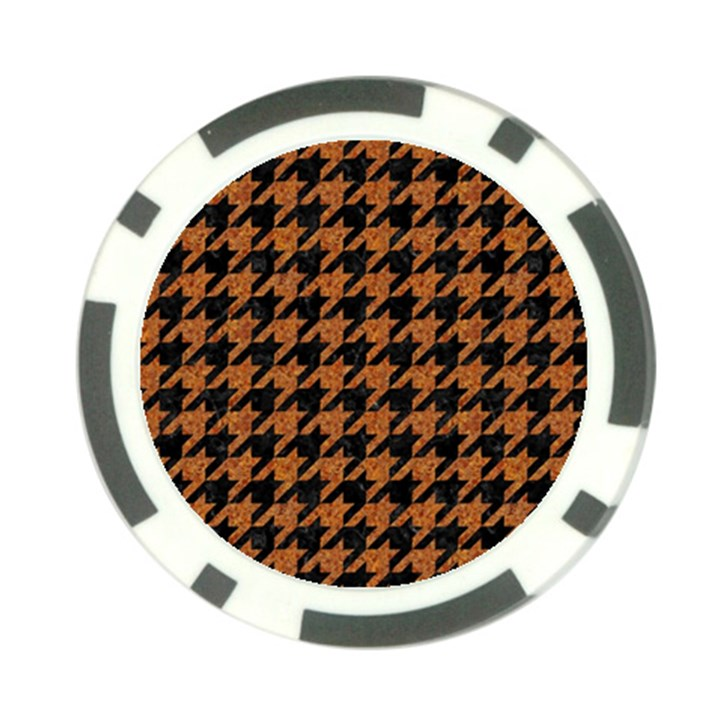 HOUNDSTOOTH1 BLACK MARBLE & RUSTED METAL Poker Chip Card Guard (10 pack)
