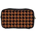 HOUNDSTOOTH1 BLACK MARBLE & RUSTED METAL Toiletries Bags 2-Side Front