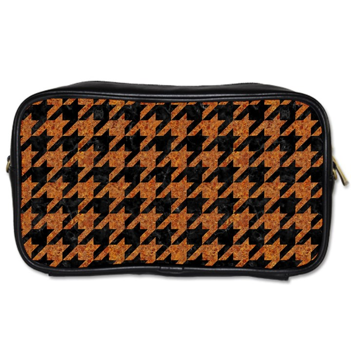 HOUNDSTOOTH1 BLACK MARBLE & RUSTED METAL Toiletries Bags 2-Side