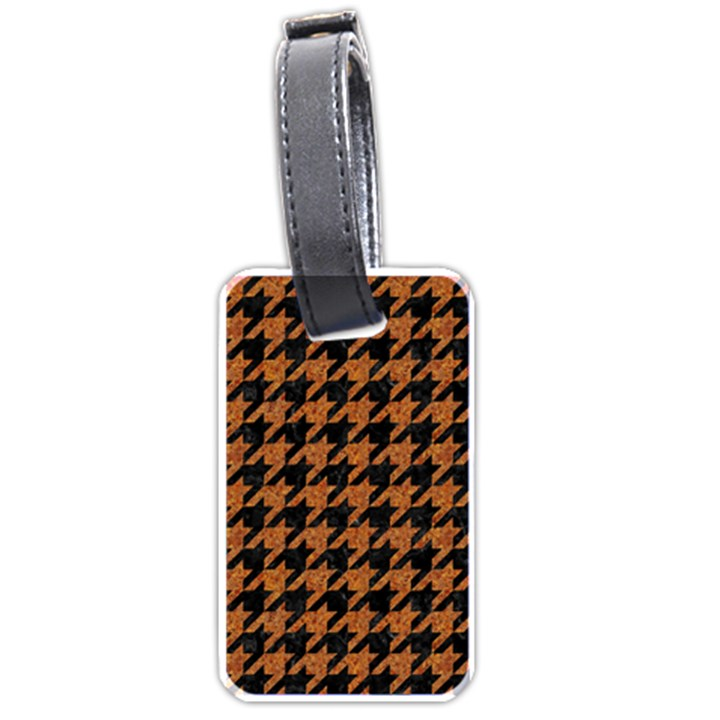 HOUNDSTOOTH1 BLACK MARBLE & RUSTED METAL Luggage Tags (One Side)