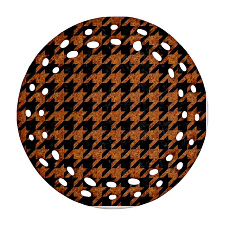 HOUNDSTOOTH1 BLACK MARBLE & RUSTED METAL Ornament (Round Filigree)