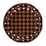 HOUNDSTOOTH1 BLACK MARBLE & RUSTED METAL Round Filigree Ornament (Two Sides) Front
