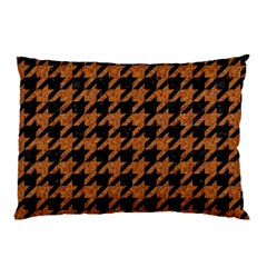 Houndstooth1 Black Marble & Rusted Metal Pillow Case (two Sides) by trendistuff