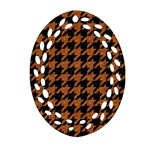 HOUNDSTOOTH1 BLACK MARBLE & RUSTED METAL Oval Filigree Ornament (Two Sides) Front