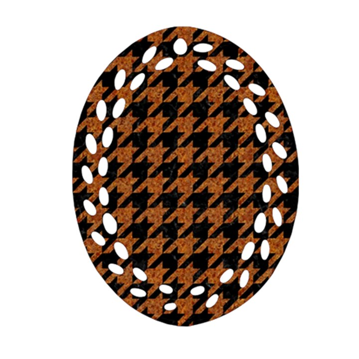HOUNDSTOOTH1 BLACK MARBLE & RUSTED METAL Oval Filigree Ornament (Two Sides)