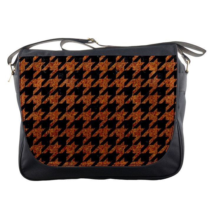 HOUNDSTOOTH1 BLACK MARBLE & RUSTED METAL Messenger Bags