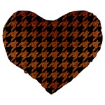 HOUNDSTOOTH1 BLACK MARBLE & RUSTED METAL Large 19  Premium Heart Shape Cushions Back