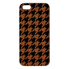 Houndstooth1 Black Marble & Rusted Metal Apple Iphone 5 Premium Hardshell Case by trendistuff