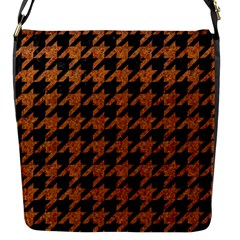 Houndstooth1 Black Marble & Rusted Metal Flap Messenger Bag (s)