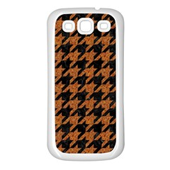 Houndstooth1 Black Marble & Rusted Metal Samsung Galaxy S3 Back Case (white) by trendistuff