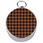 HOUNDSTOOTH1 BLACK MARBLE & RUSTED METAL Silver Compasses Front