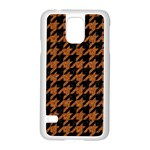HOUNDSTOOTH1 BLACK MARBLE & RUSTED METAL Samsung Galaxy S5 Case (White) Front