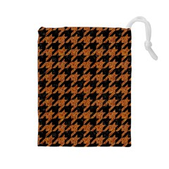 Houndstooth1 Black Marble & Rusted Metal Drawstring Pouches (large)  by trendistuff