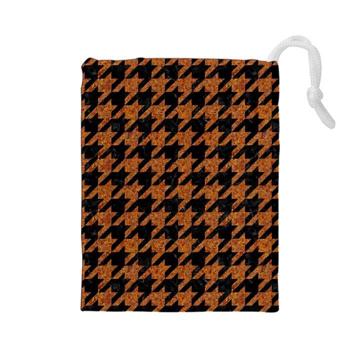 HOUNDSTOOTH1 BLACK MARBLE & RUSTED METAL Drawstring Pouches (Large)