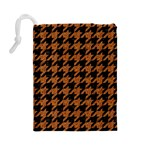 HOUNDSTOOTH1 BLACK MARBLE & RUSTED METAL Drawstring Pouches (Large)  Back