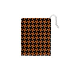 Houndstooth1 Black Marble & Rusted Metal Drawstring Pouches (xs)