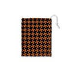 HOUNDSTOOTH1 BLACK MARBLE & RUSTED METAL Drawstring Pouches (XS)  Front