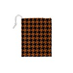 HOUNDSTOOTH1 BLACK MARBLE & RUSTED METAL Drawstring Pouches (XS)  Back