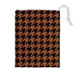 HOUNDSTOOTH1 BLACK MARBLE & RUSTED METAL Drawstring Pouches (Extra Large) Front