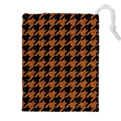 Houndstooth1 Black Marble & Rusted Metal Drawstring Pouches (xxl) by trendistuff