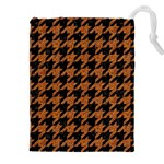 HOUNDSTOOTH1 BLACK MARBLE & RUSTED METAL Drawstring Pouches (XXL) Front