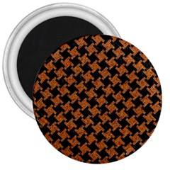 Houndstooth2 Black Marble & Rusted Metal 3  Magnets by trendistuff