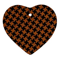 Houndstooth2 Black Marble & Rusted Metal Ornament (heart) by trendistuff