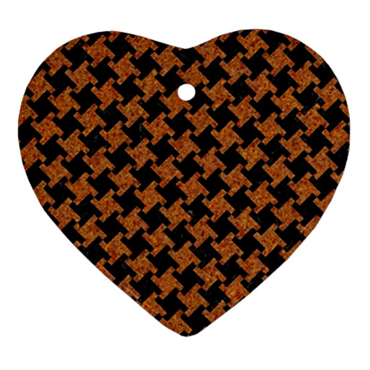 HOUNDSTOOTH2 BLACK MARBLE & RUSTED METAL Ornament (Heart)
