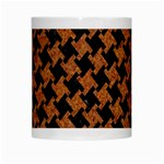 HOUNDSTOOTH2 BLACK MARBLE & RUSTED METAL White Mugs Center