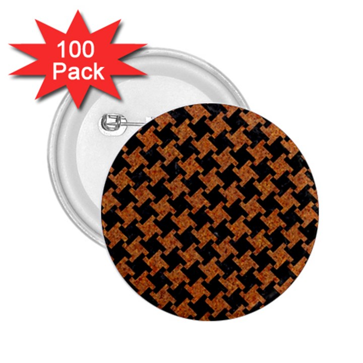 HOUNDSTOOTH2 BLACK MARBLE & RUSTED METAL 2.25  Buttons (100 pack)