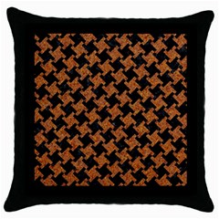 Houndstooth2 Black Marble & Rusted Metal Throw Pillow Case (black)