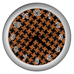 Houndstooth2 Black Marble & Rusted Metal Wall Clocks (silver)