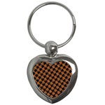HOUNDSTOOTH2 BLACK MARBLE & RUSTED METAL Key Chains (Heart)  Front